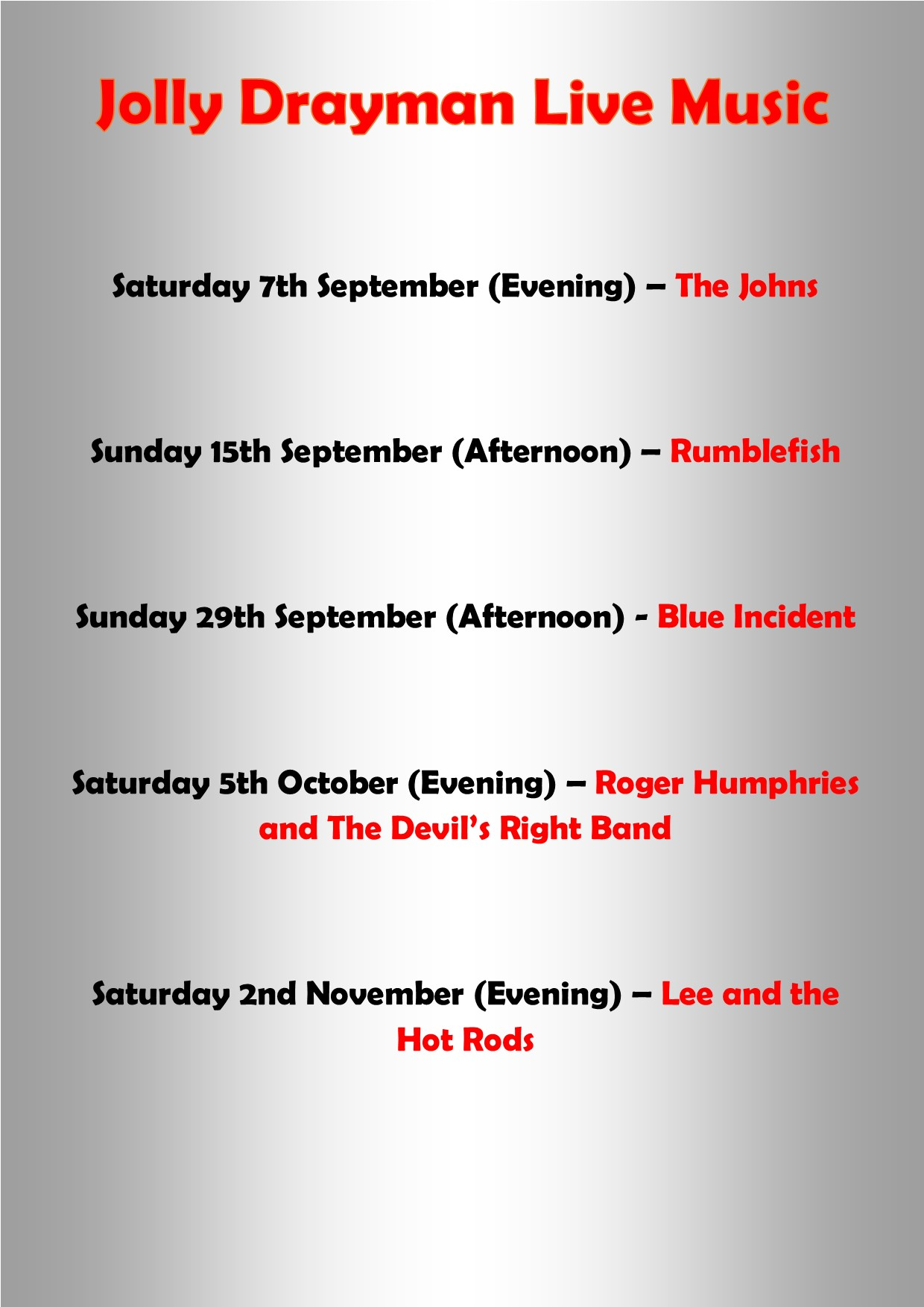 Live Music Autumn 2019